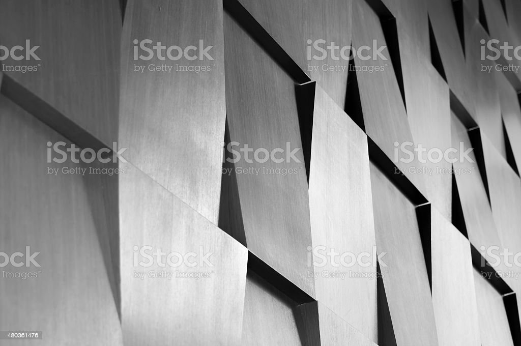 Wood wall geometry decoration stock photo