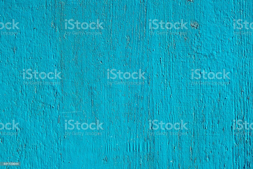 wood wall painted in bright blue paint use for background stock photo