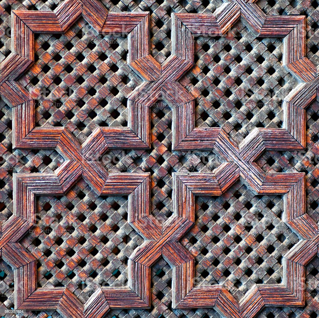 Wood wall with islamic pattern, Morocco stock photo