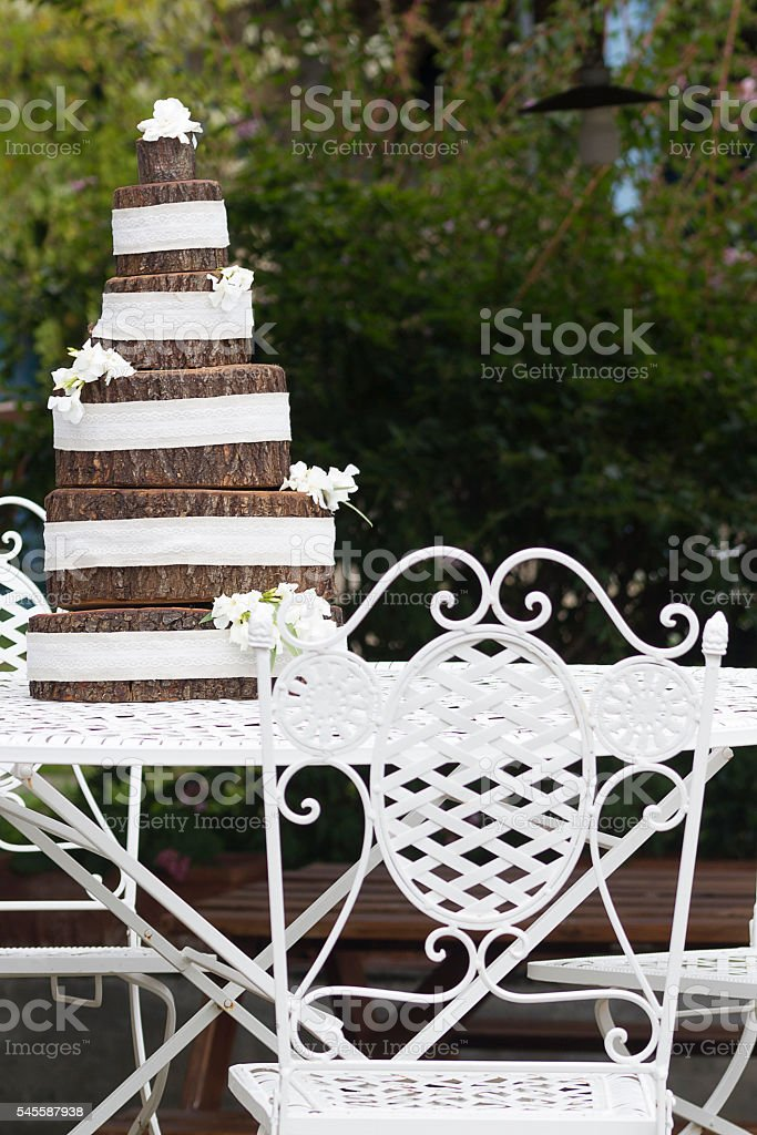 Wood wedding cake stock photo