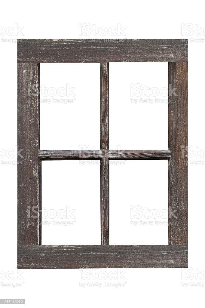 Wood window frame isolated on white background stock photo