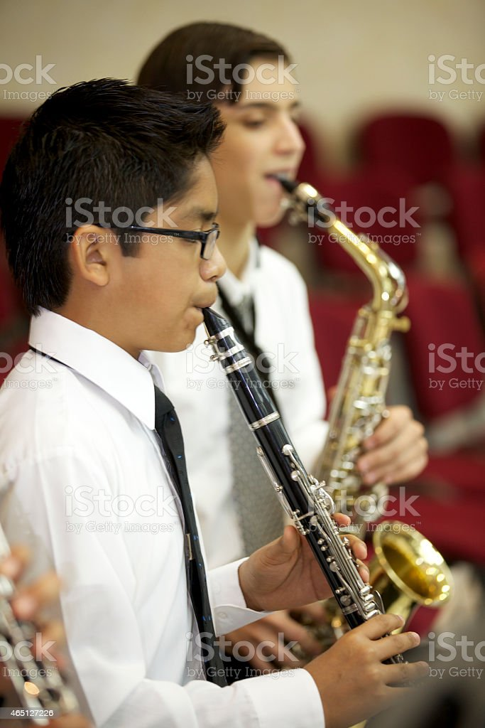 wood winds in orchestra stock photo