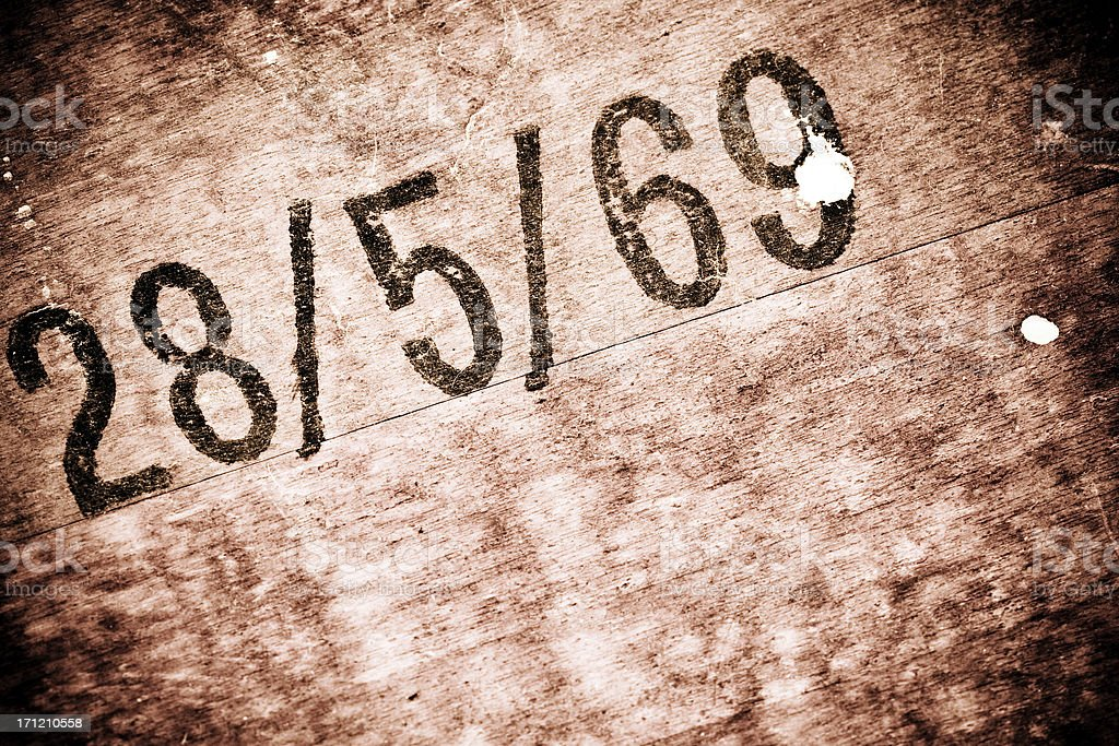 Wood with date. Monocrome royalty-free stock photo