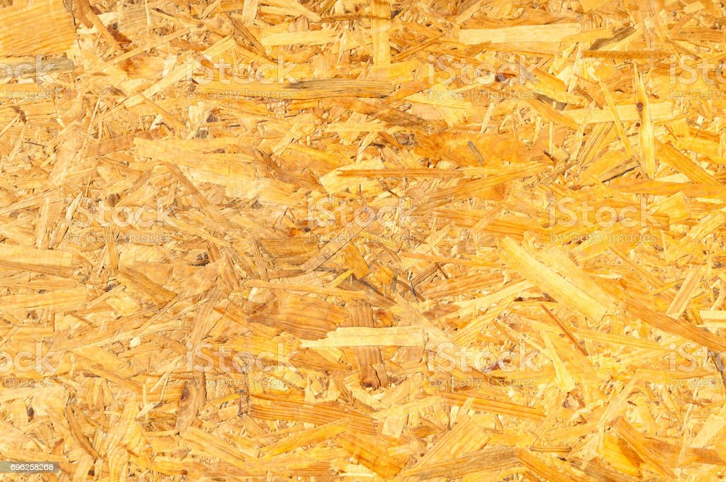 OSB wood. Wooden panel background. Close up. stock photo