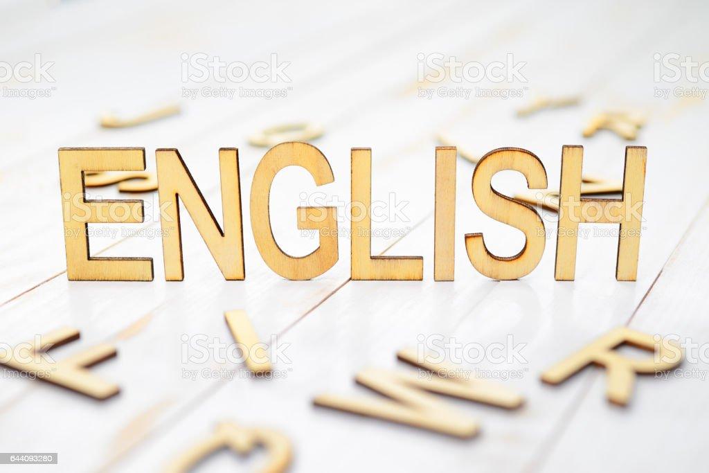 Wood word english stock photo