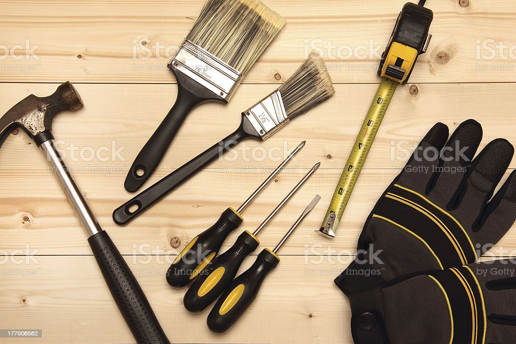 Wood work and painting tools royalty-free stock photo
