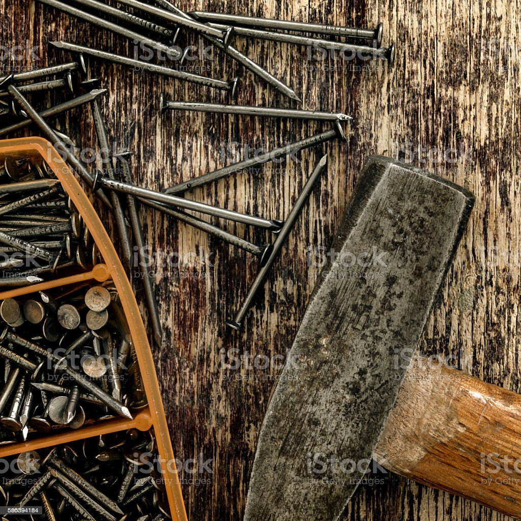 Wood Work Tools On Wooden Background Retro Vintage. stock photo