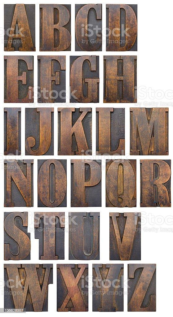 Woodblock alphabet stock photo