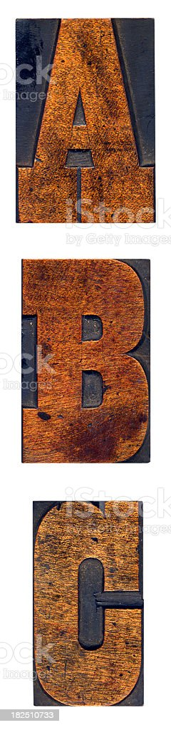 ABC woodblock stock photo