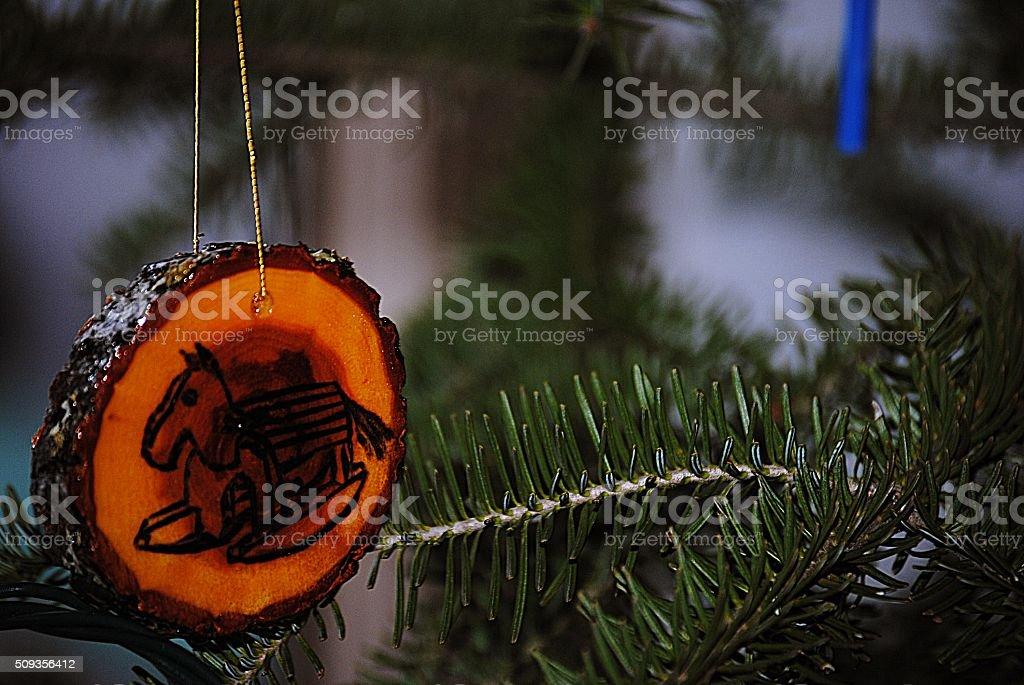 Woodburned Christmas Ornament royalty-free stock photo