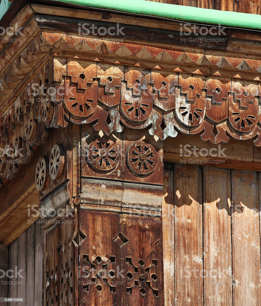woodcarving - detail of Orthodox Holy Trinity Cathedral in Karak stock photo