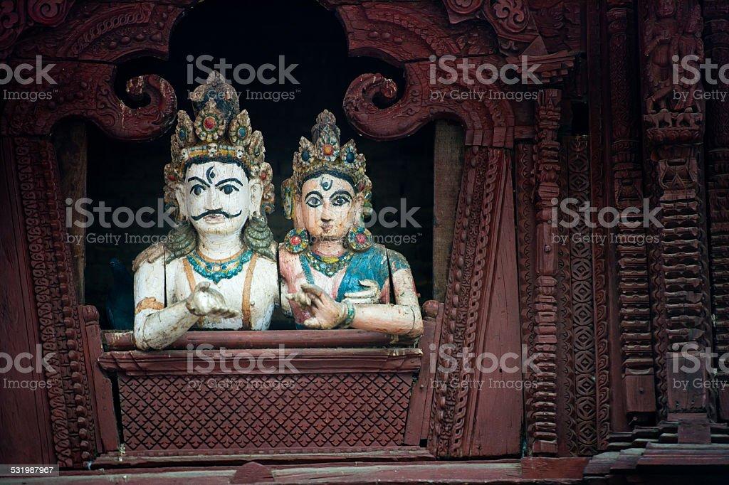 Woodcarving detail on temple on Durbar Square - Kathmandu , Nepal stock photo