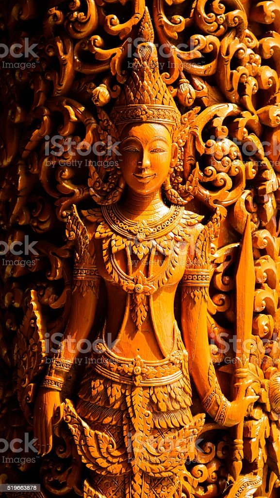 Wood-carving in temple thailand. stock photo