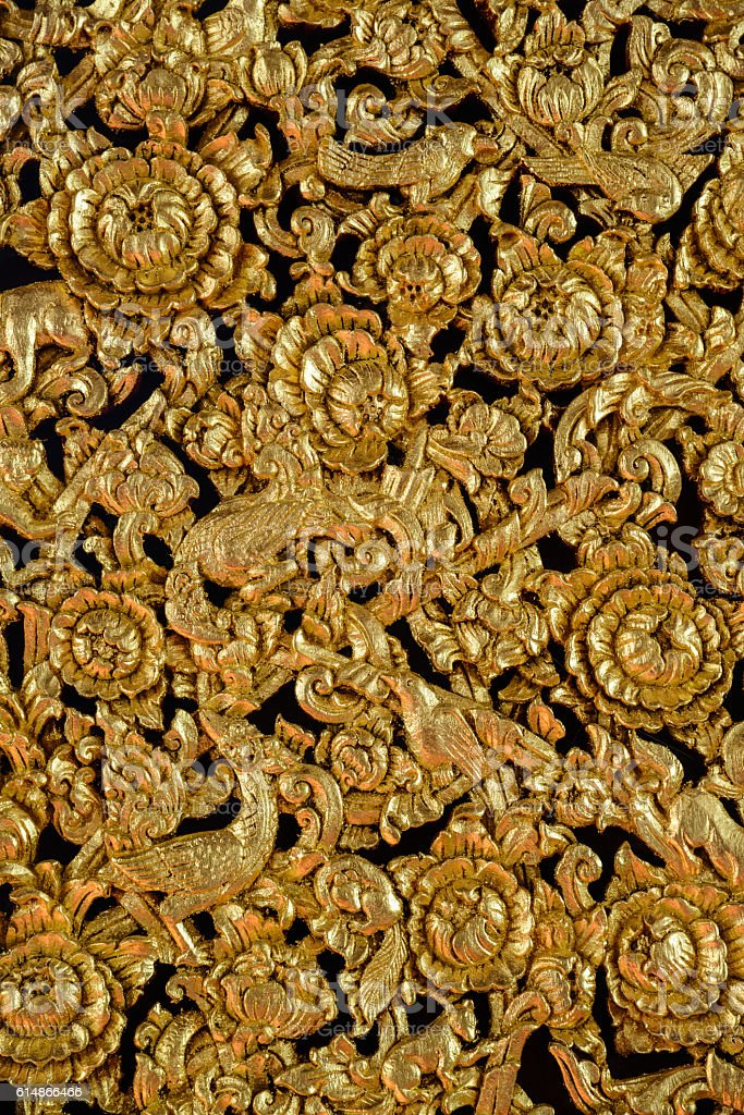 Woodcarving traditional Thai art stock photo