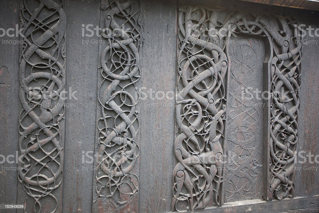Woodcat in Urnes stave church royalty-free stock photo