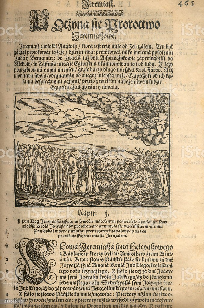 Woodcut from 16th century Bible stock photo