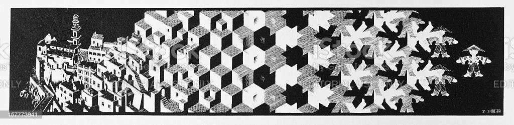 Woodcut print 'Metamorphosis 1' by Dutch artist MC Escher (1937) stock photo