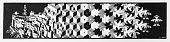 Woodcut print 'Metamorphosis 1' by Dutch artist MC Escher (1937)