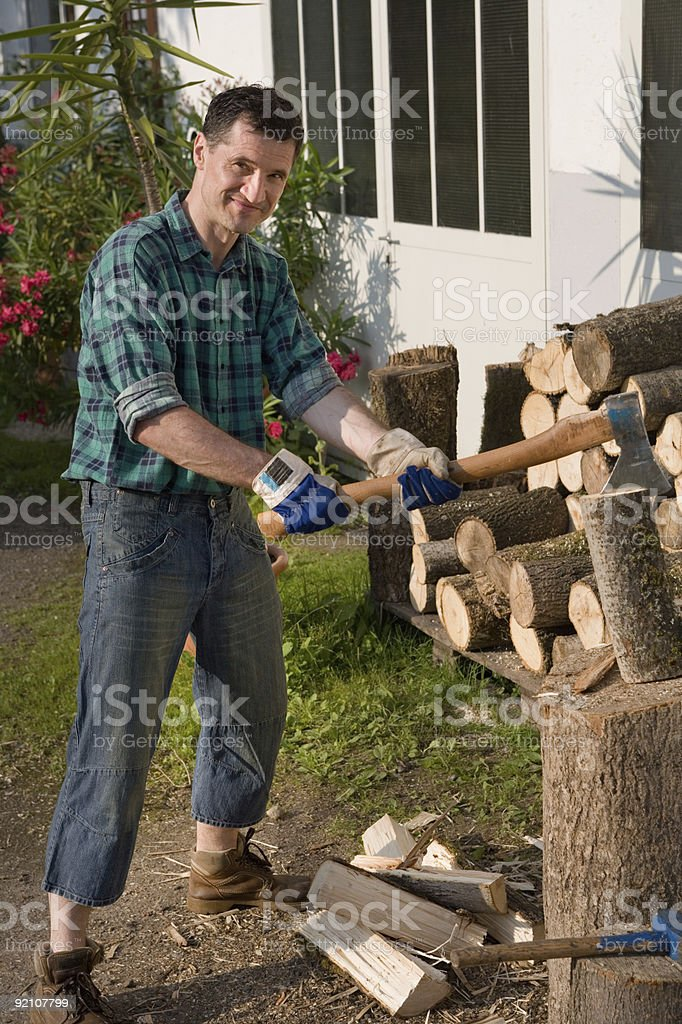 wood-cutter stock photo