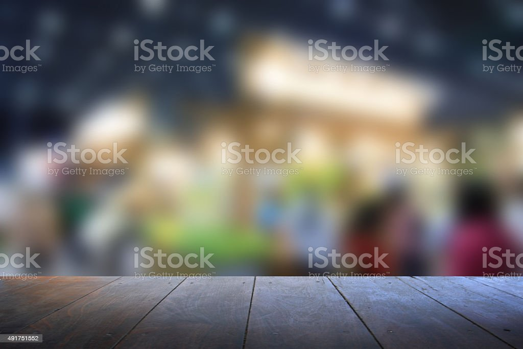 woodden on trade show area. Blurred background. stock photo