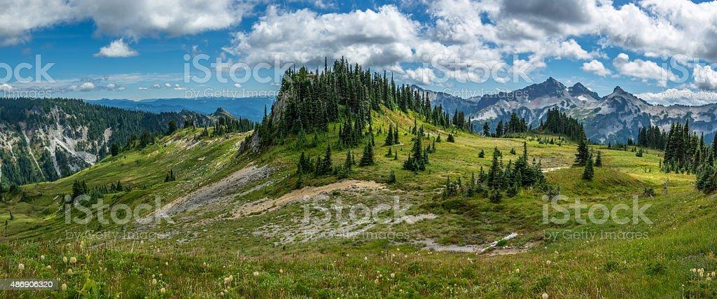Wooded Mountain Peak stock photo