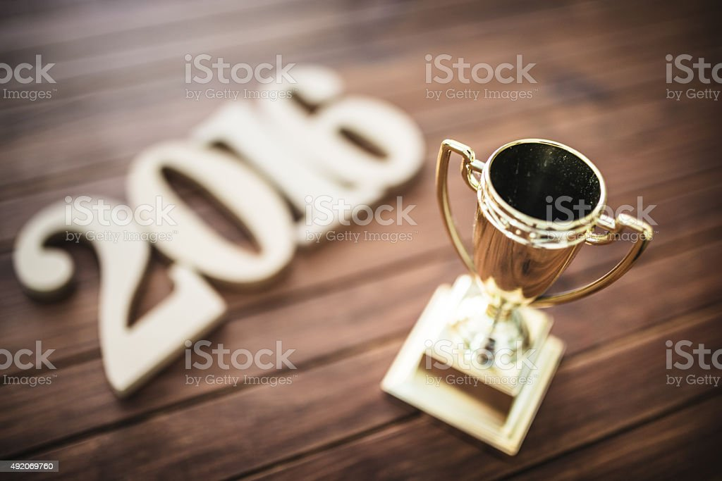 wooden 2016 New year text on plank wood stock photo