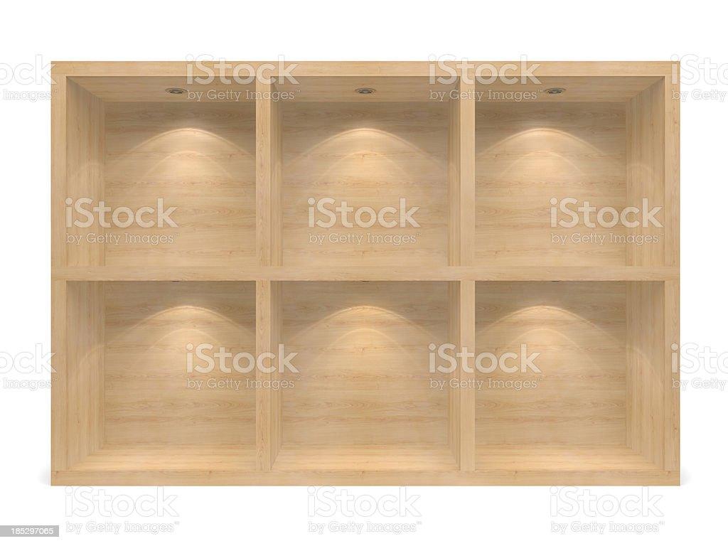 wooden 3d Empty racks stock photo