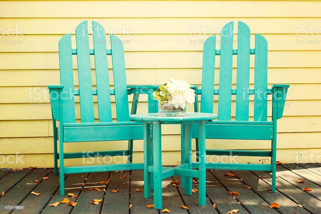 Wooden Adirondack Chairs stock photo