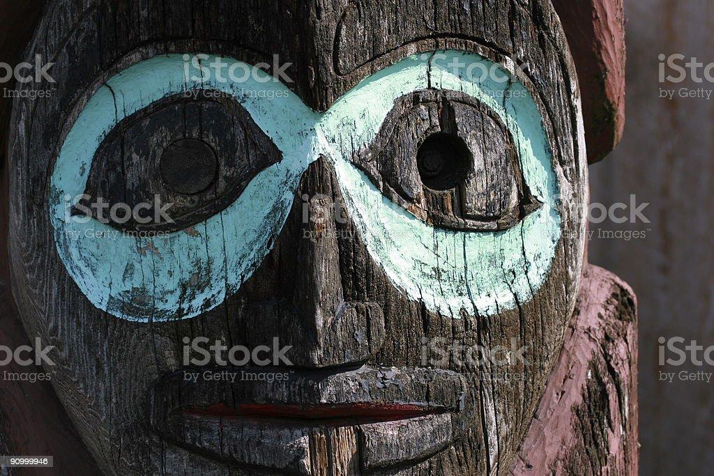 Wooden Alaskan Totem Pole royalty-free stock photo