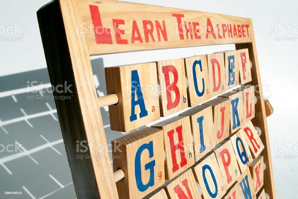 wooden alphabet abacus stock photo