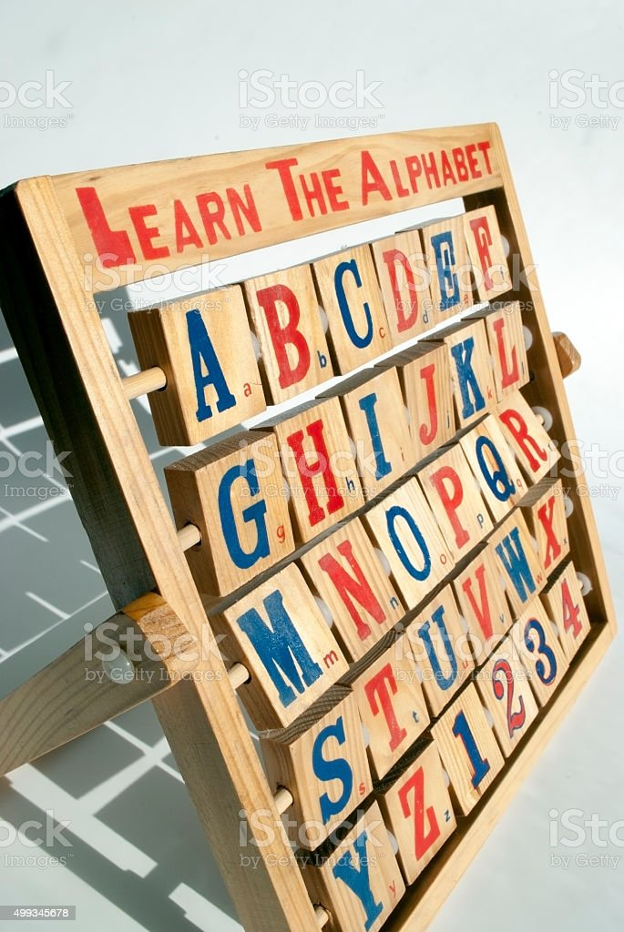 wooden alphabet and number abacus stock photo