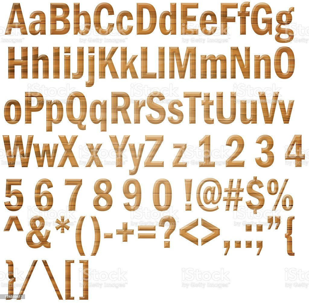 wooden alphabet and numbers royalty-free stock photo