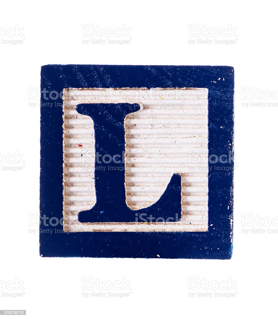 Wooden  alphabet block with letter L isolated on white stock photo