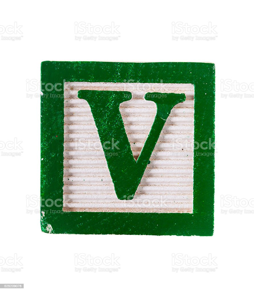 Wooden alphabet block with letter V isolated on white stock photo