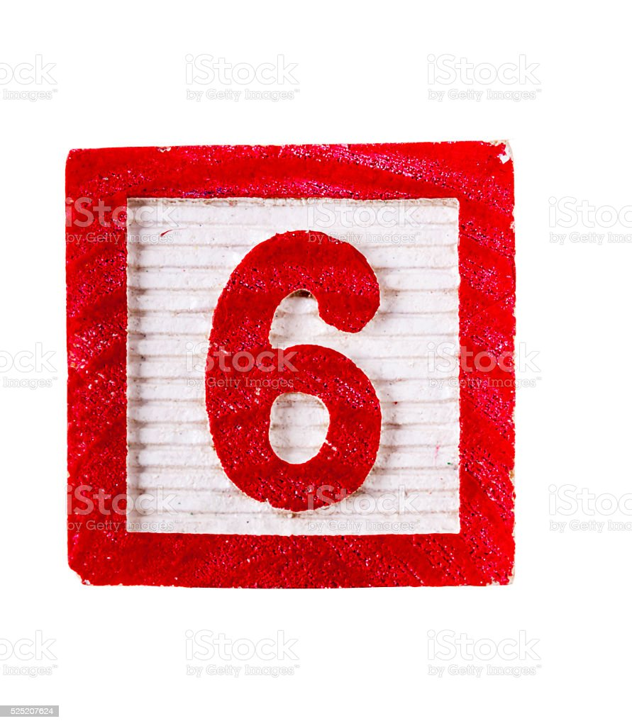 Wooden alphabet block with number 6 isolated on white stock photo