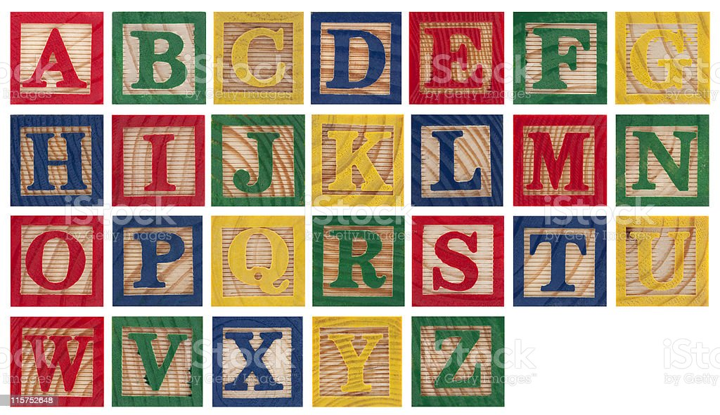 Wooden alphabet blocks isolated on white stock photo