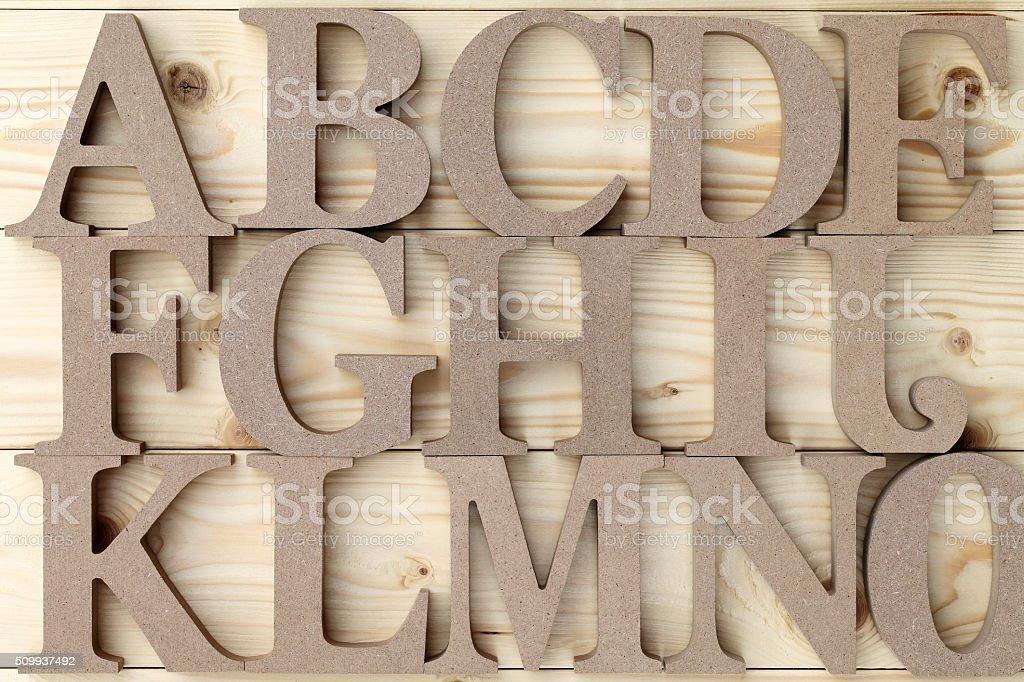 Wooden alphabet letter blocks stock photo