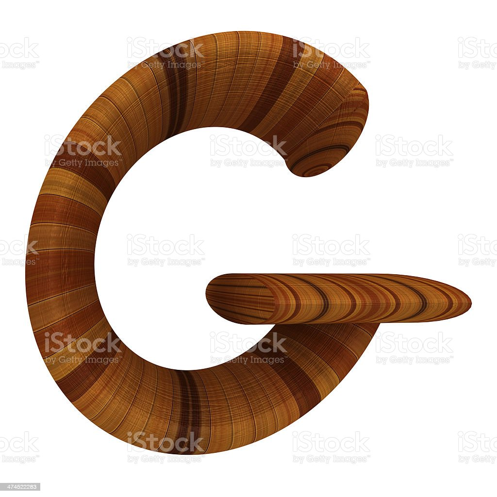 Wooden Alphabet. Letter 'G' on a white royalty-free stock photo