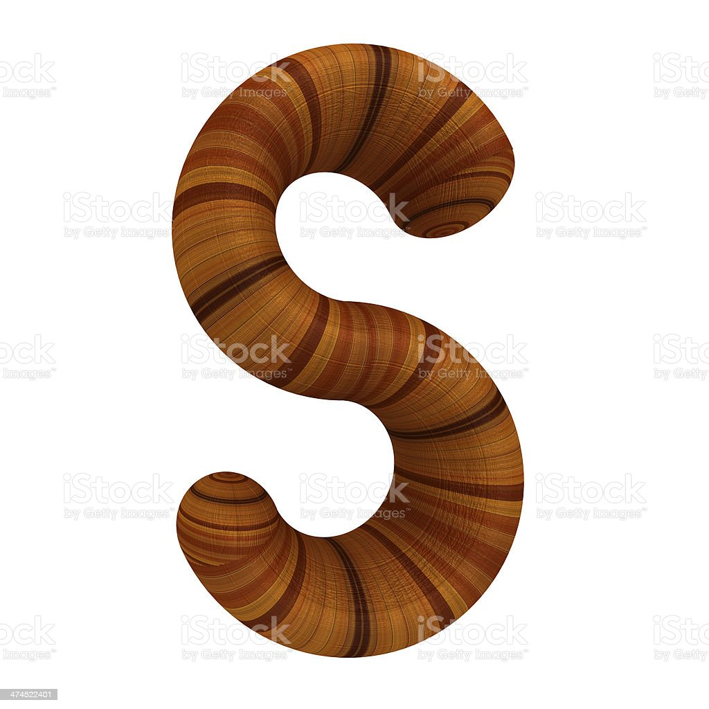 Wooden Alphabet. Letter 'S' on a white royalty-free stock photo