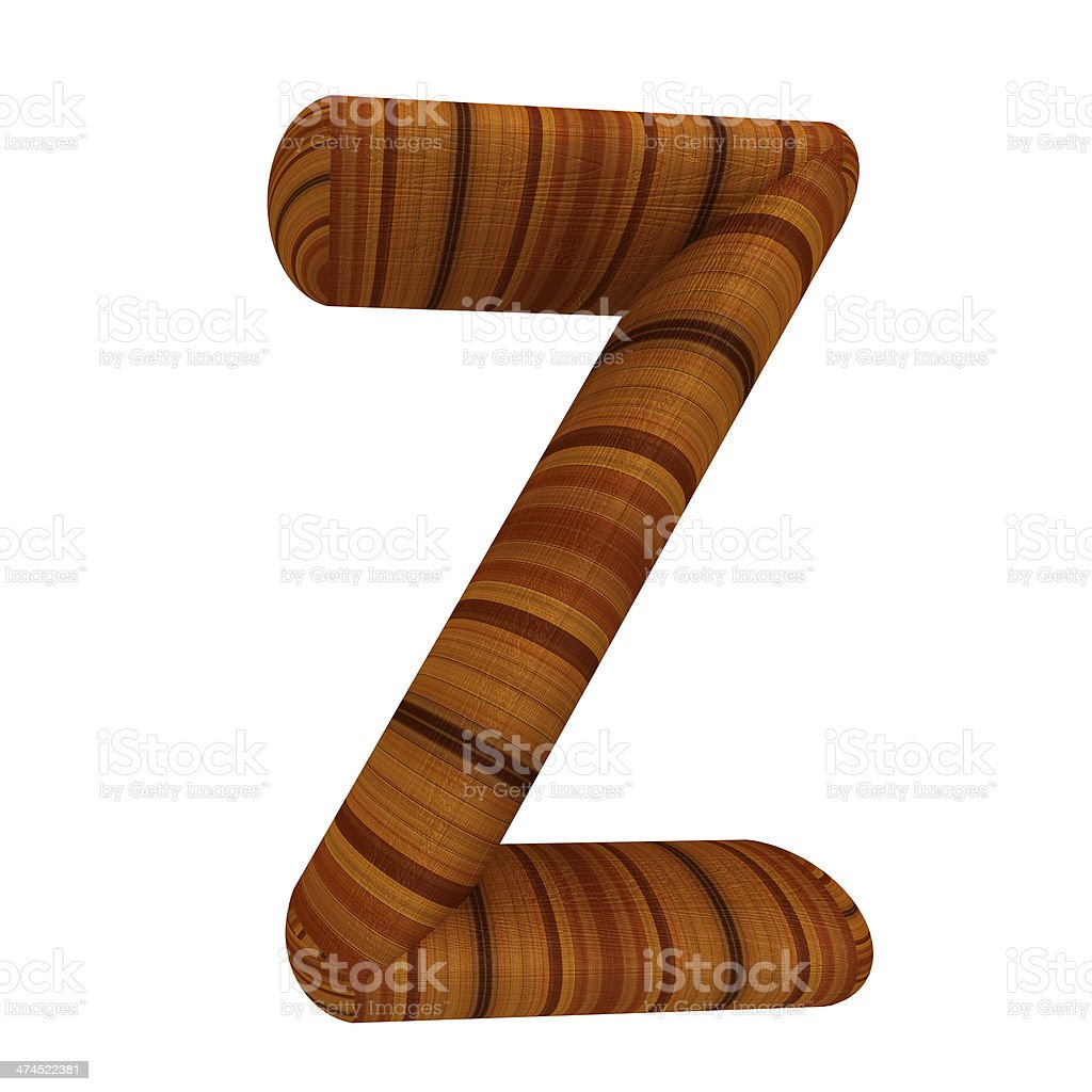 Wooden Alphabet. Letter 'Z' on a white royalty-free stock photo