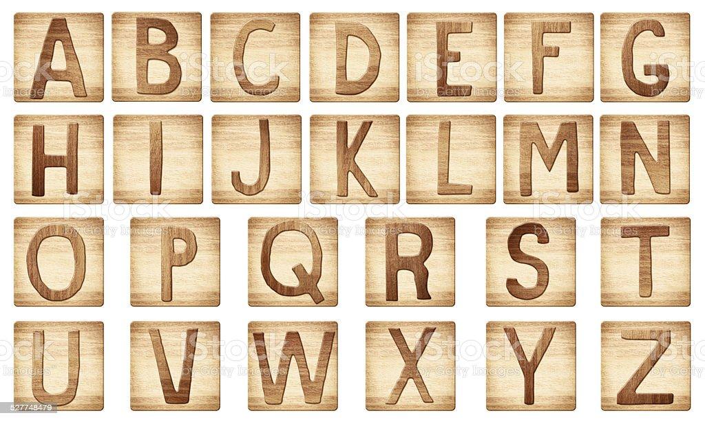 Wooden alphabet letters blocks stock photo