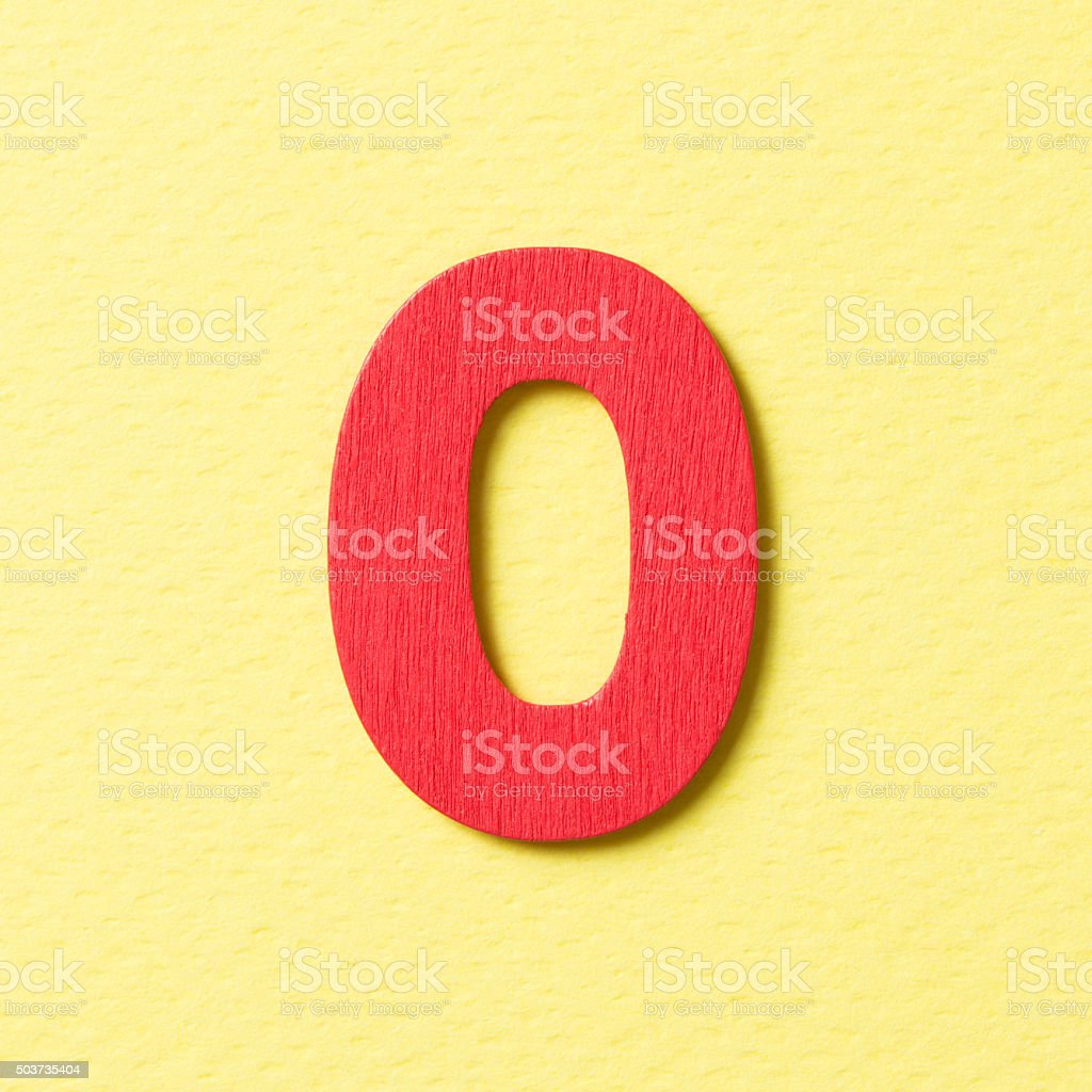 Wooden alphabet O in capital letter stock photo
