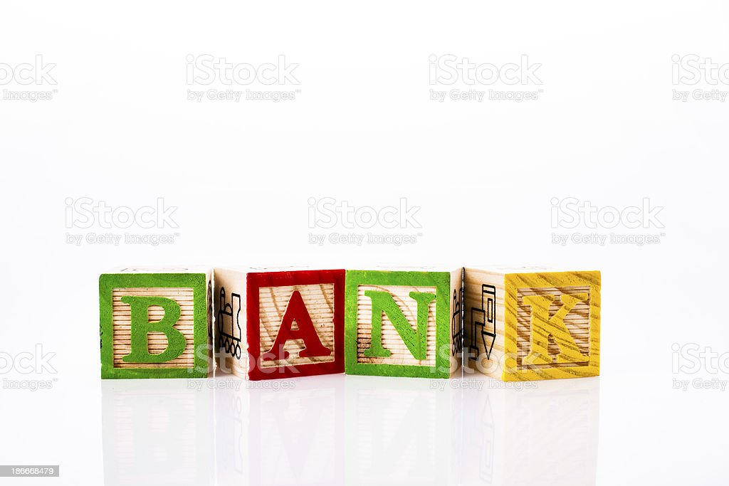 wooden alphabet toy blocks - BANK royalty-free stock photo