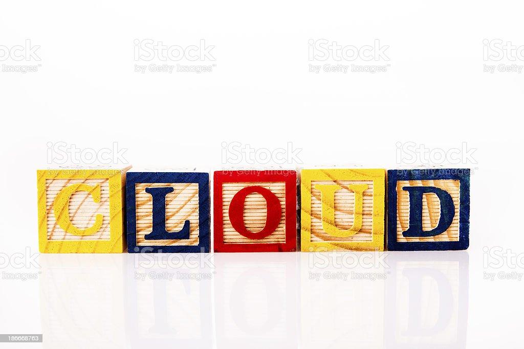 wooden alphabet toy blocks - CLOUD royalty-free stock photo