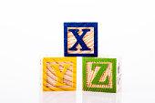wooden alphabet toy blocks - XYZ