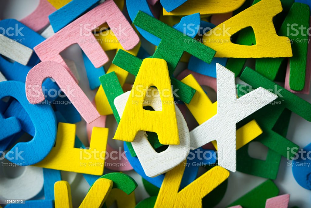 Wooden alphabets stock photo