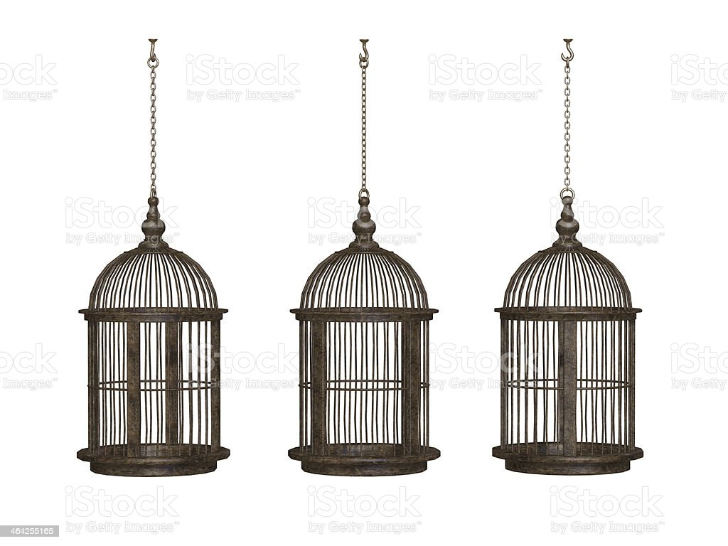 wooden ancient bird cage stock photo