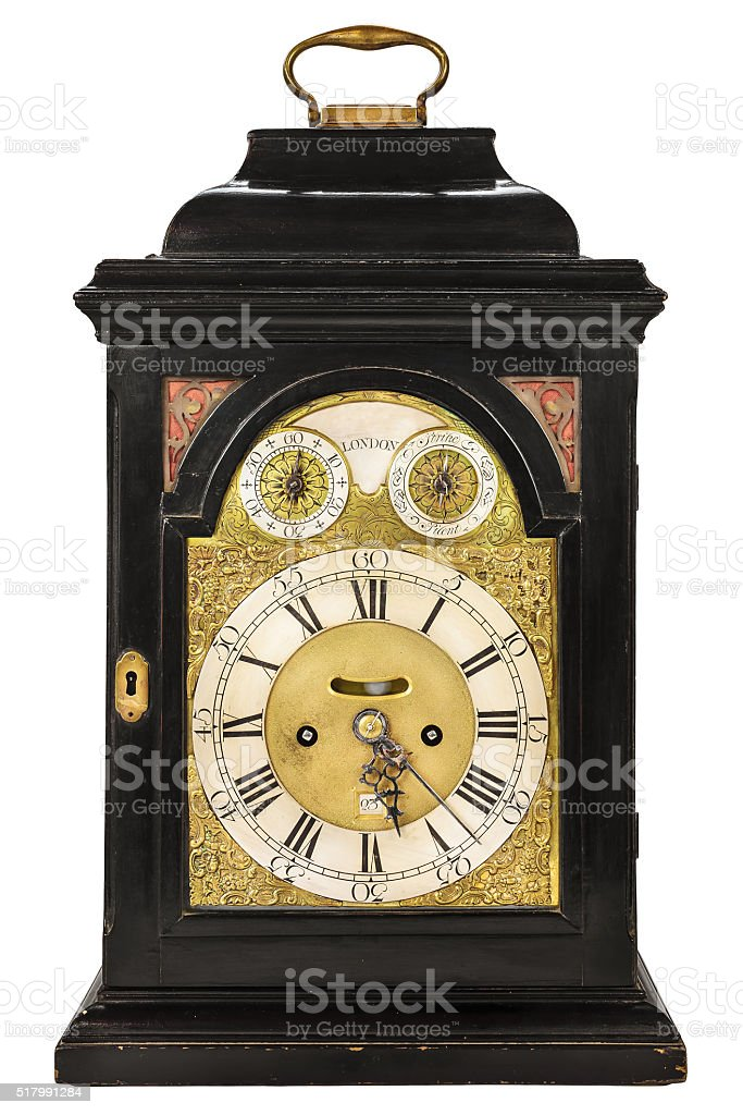 Wooden ancient clock from London stock photo