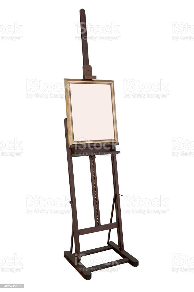Wooden ancient easel with blank canvas stock photo