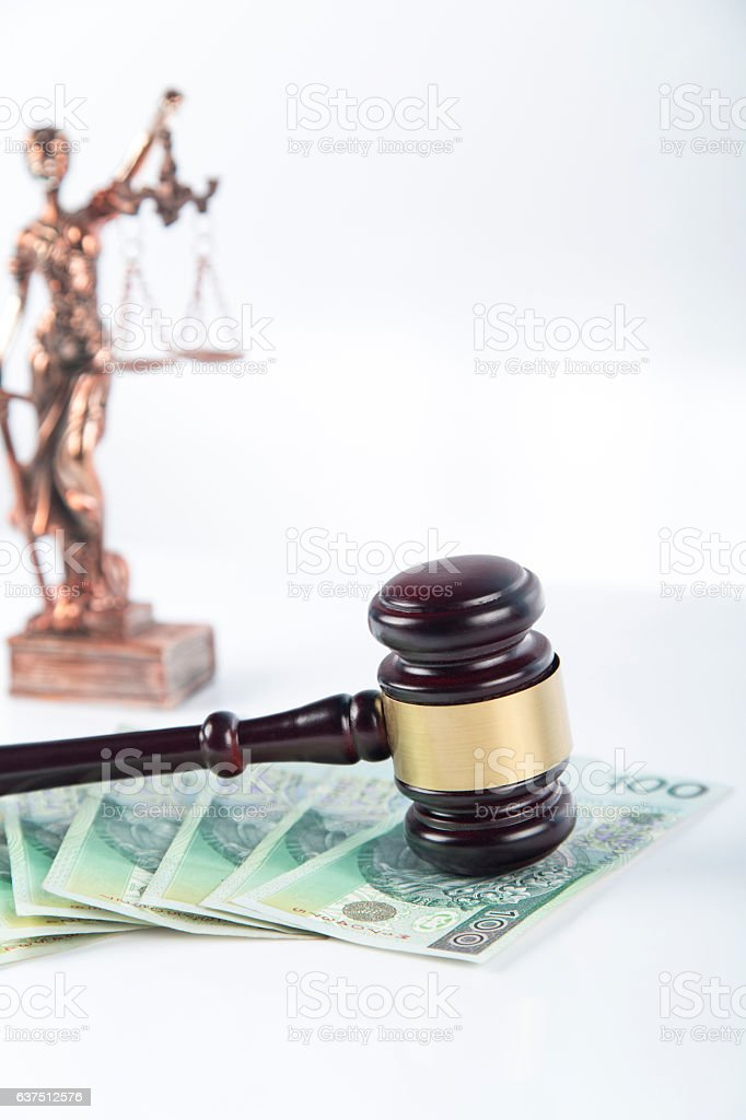 Wooden and gold gavel on white background isolated. Lawsuit stock photo